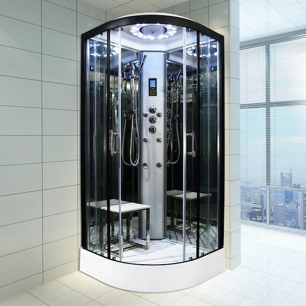 Insignia Platinum black framed quadrant shower cabin