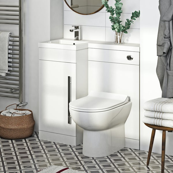 Orchard MySpace white left handed unit with Eden contemporary back to wall toilet