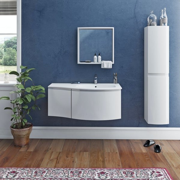 Mode Harrison snow furniture package with right handed wall hung vanity unit 1000mm