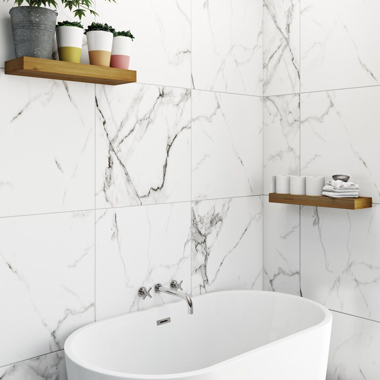 Polar White Marble Effect Matt Wall And Floor Tile 600mm X 600mm Victoriaplum Com