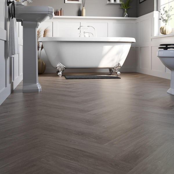 Kasba warm walnut herringbone water resistant laminate flooring 8mm