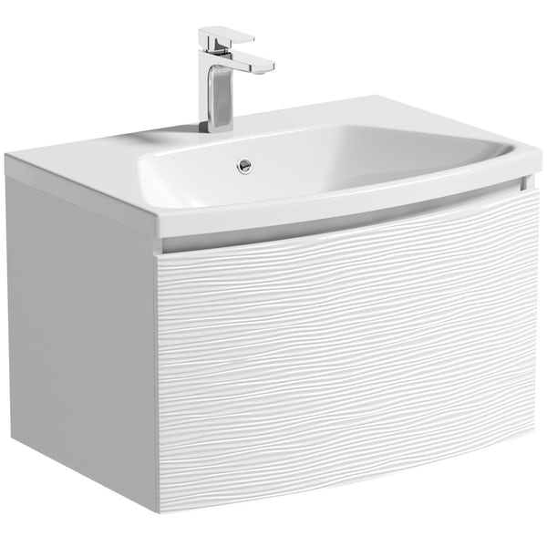 Mode Foster textured matt white wall hung vanity unit and basin 660mm with tap