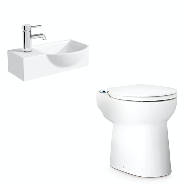 Saniflo Sanicompact cloakroom solution with cisternless back to wall toilet, macerator and small basin 410mm