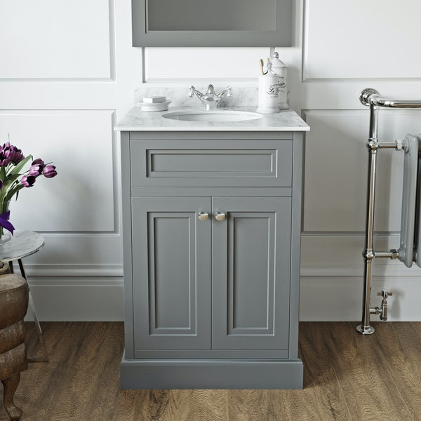 The Bath Co. Chartham slate grey floorstanding vanity unit and white marble basin 600mm