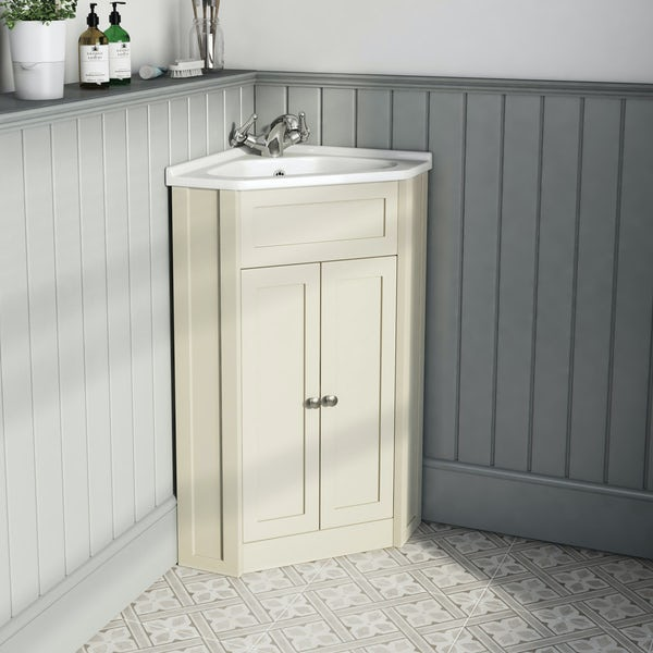 The Bath Co Camberley Satin Ivory Corner Unit And Basin 580mm
