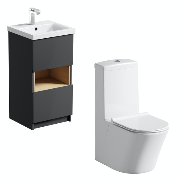 Mode Tate anthracite black & oak cloakroom suite with close coupled toilet