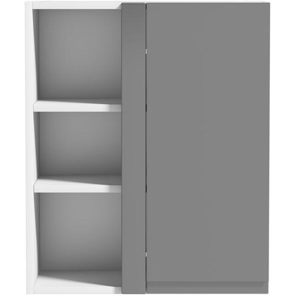Schon Chicago mid grey handleless 600mm corner wall unit