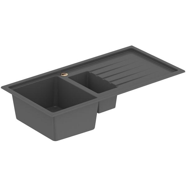 Bristan Gallery quartz midnight grey easyfit kitchen sink 1.5 bowl with right drainer