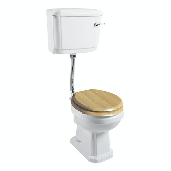The Bath Co. Cromford low level toilet inc oak soft close seat