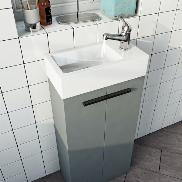 Clarity Compact satin grey cloakroom suite with contemporary close coupled toilet and black handles