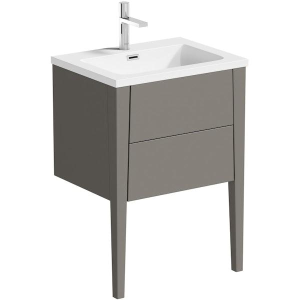 Mode Hale greystone matt vanity unit and basin 600mm