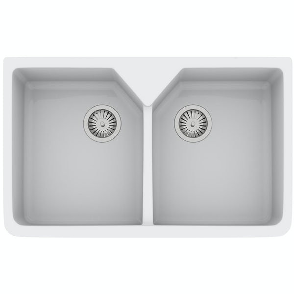 Rangemaster Double Bowl Belfast ceramic kitchen sink and Aquaclassic kitchen tap