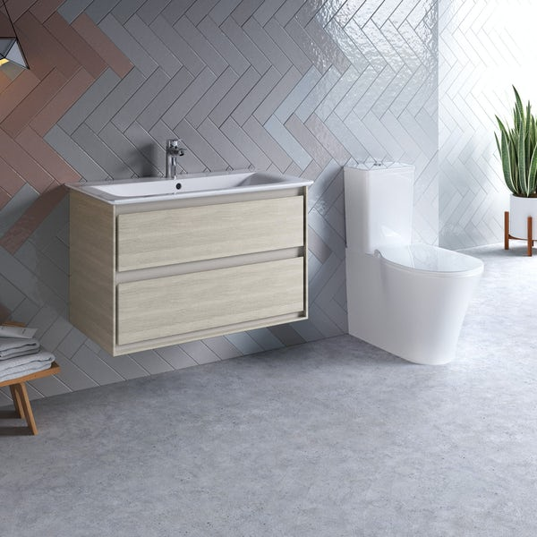 Ideal Standard Concept Air wood light brown vanity unit 800mm with close coupled toilet