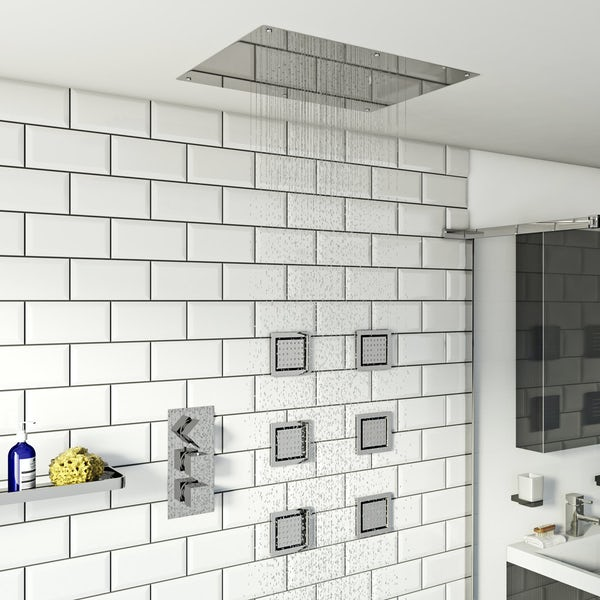 Mode Ando thermostatic mixer shower with recessed shower head and 6 body jets