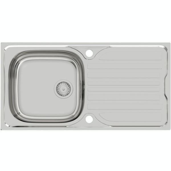 Schon Celyn universal 1.0 bowl stainless steel kitchen sink with waste 965 x 500