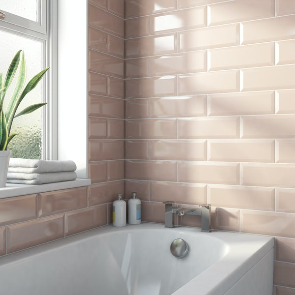 Maxi Metro blush pink bevelled gloss wall tile 100mm x 300mm