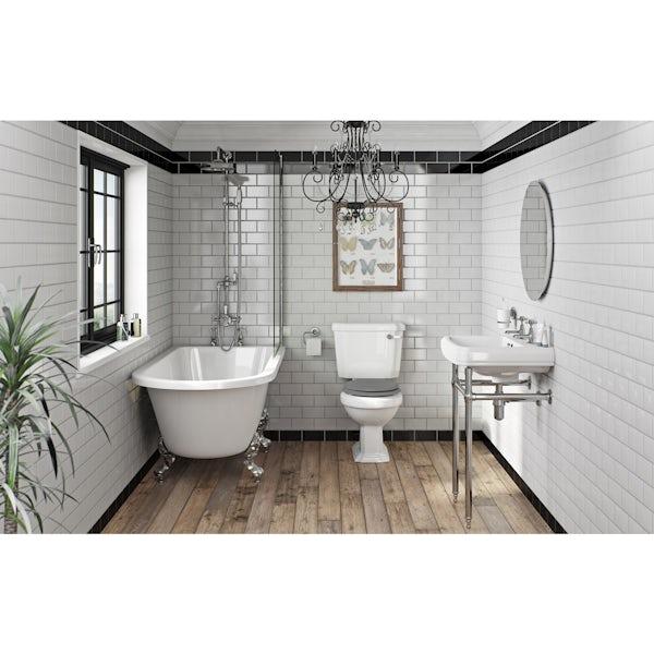 The Bath Co. Dulwich grey bathroom suite with freestanding shower bath