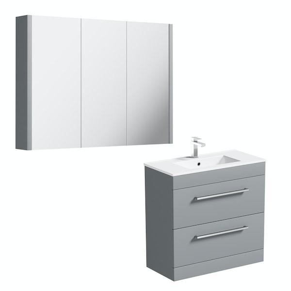 Orchard Derwent stone grey vanity drawer unit 800mm and mirror
