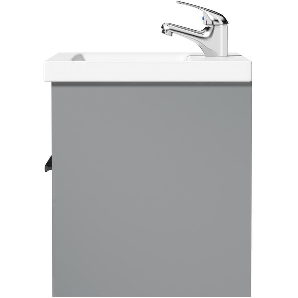 Clarity white floorstanding vanity unit with black handle and ceramic basin 760mm