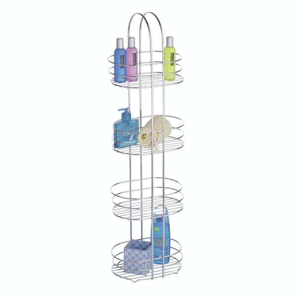 Freestanding 4 tier chrome bathroom organiser