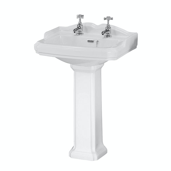 Orchard Winchester 2 tap hole traditional full pedestal 590mm basin