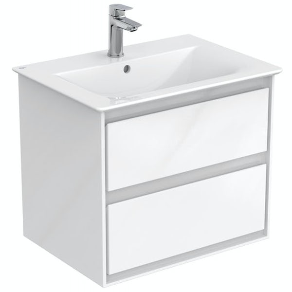 Ideal Standard Concept Air gloss and matt white wall hung vanity unit and basin 600mm with free tap
