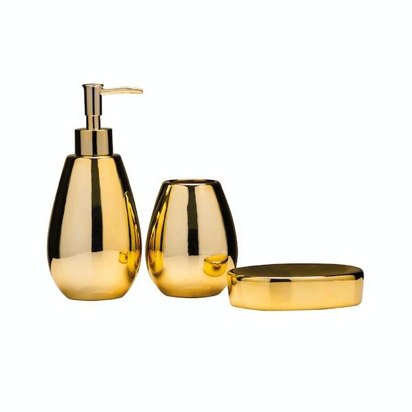 Magpie gold 3pc bathroom accessory set