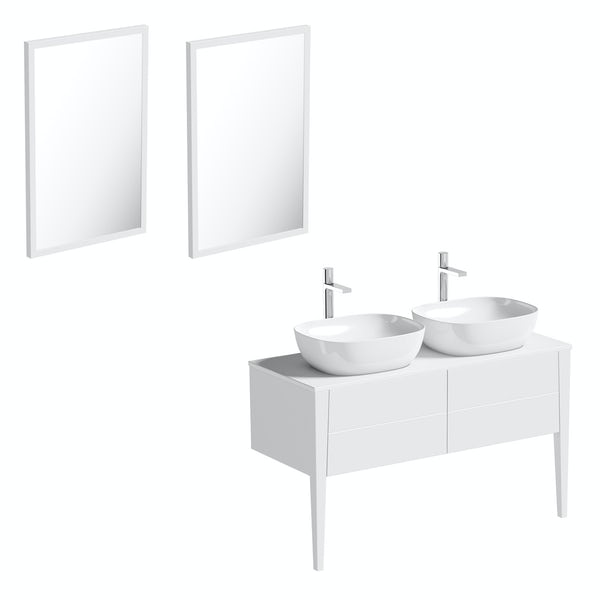 Mode Hale white gloss countertop double basin vanity unit 1200mm with mirrors