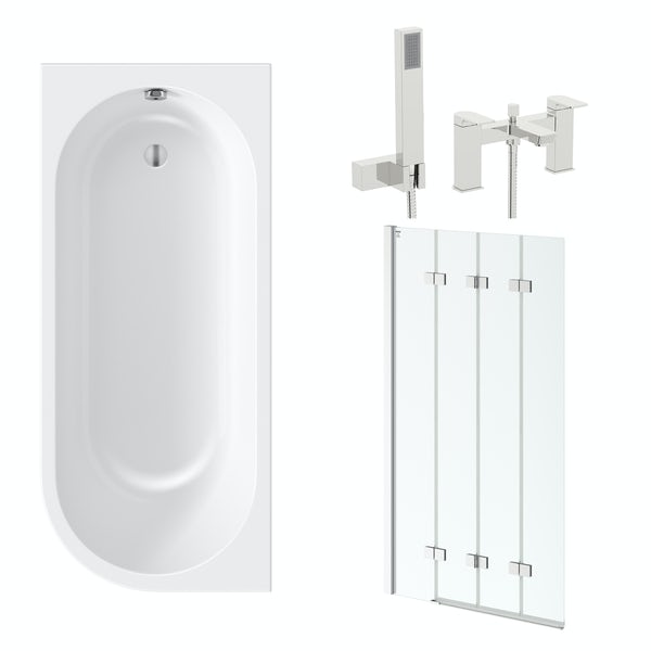 Orchard Elsdon left handed J shaped single ended shower bath 1700 with folding hinged shower bath screen and free tap