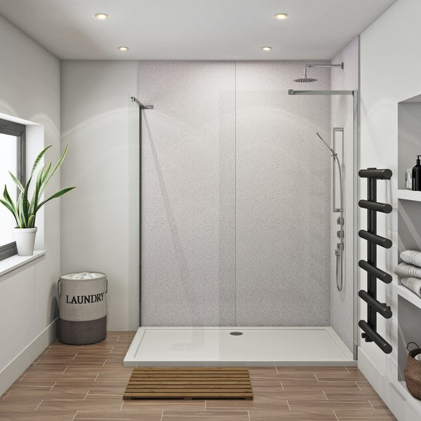 Mode 8mm walk in shower enclosure pack 1700 x 700 with Multipanel Economy Sunlit quartz shower wall panels