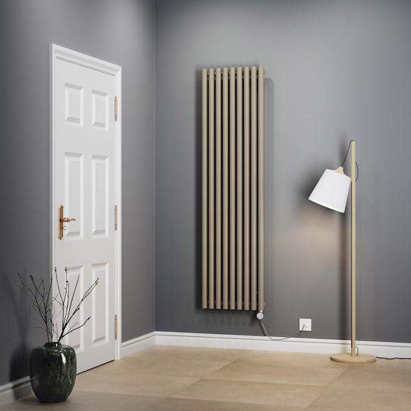 Terma Rolo Room E quartz mocha electric radiator with MOA Blue element - silver