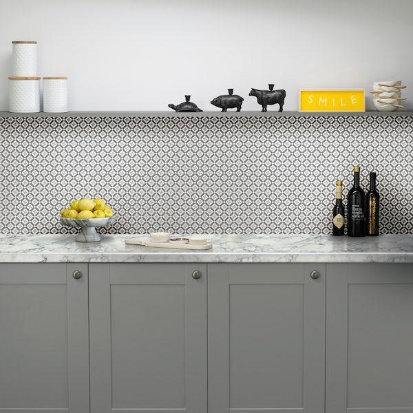 Vista 4mm 3050 x 600 kaleidoscope charcoal grey acrylic splashback