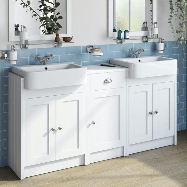 The Bath Co. Dulwich matt white floorstanding double vanity unit and basin with storage combination