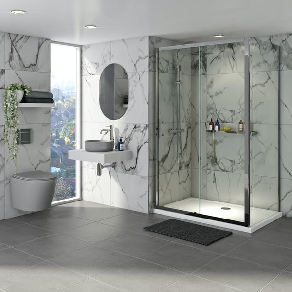Mode Orion complete bathroom suite with contemporary stone grey wall hung toilet and chrome shower enclosure