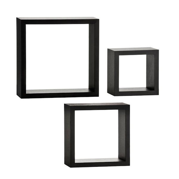 Set of 3 black wall cubes