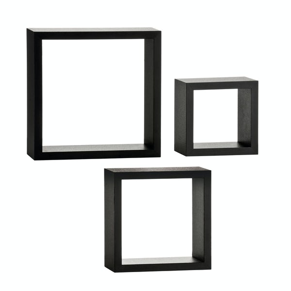 Set of 3 black wall cubes