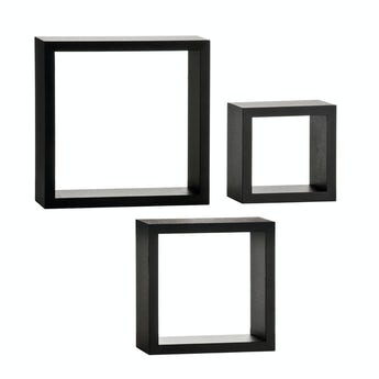 Accents Set of 3 black wall cubes