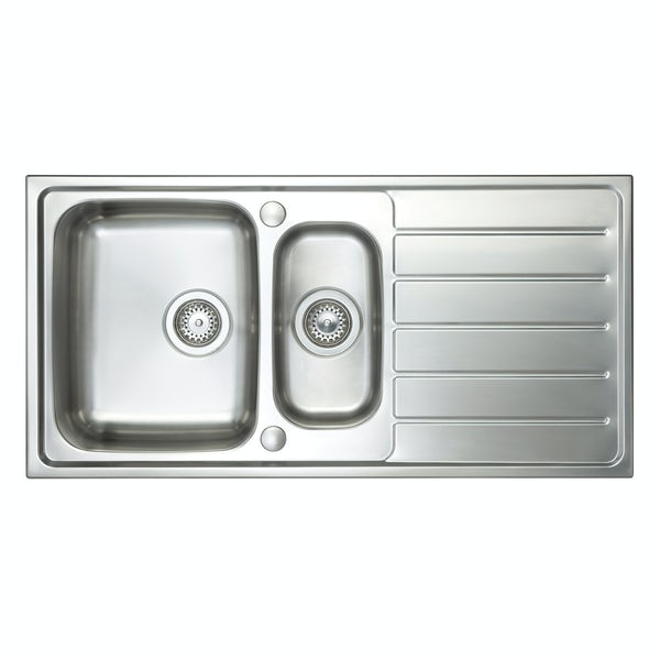 Schon Erne universal 1.5 bowl stainless steel kitchen sink with waste  1000 x 500