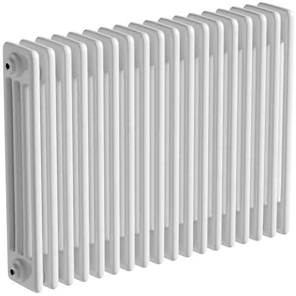 The Bath Co. Camberley white 4 column radiator 600 x 834 with angled valves