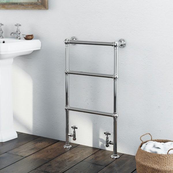The Bath Co. Winchester chrome floorstanding heated towel rail 914 x 535