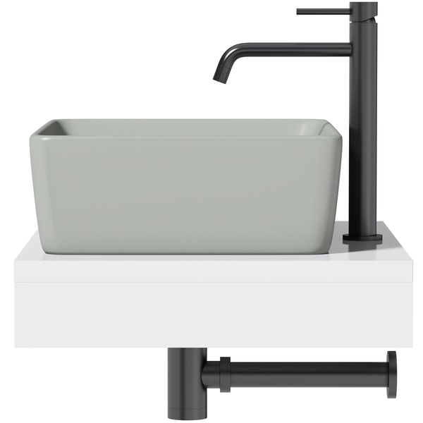 Artist Collection Gorgeous Grey rectangular basin with countertop shelf
