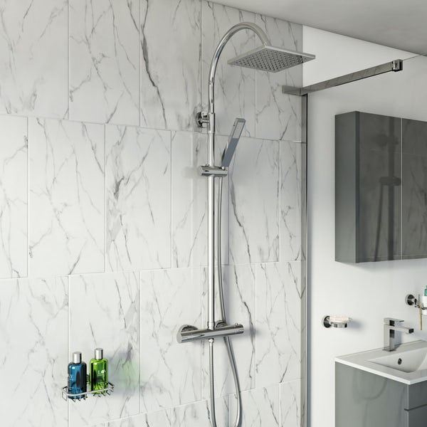 Derwent Square Head Shower Riser System