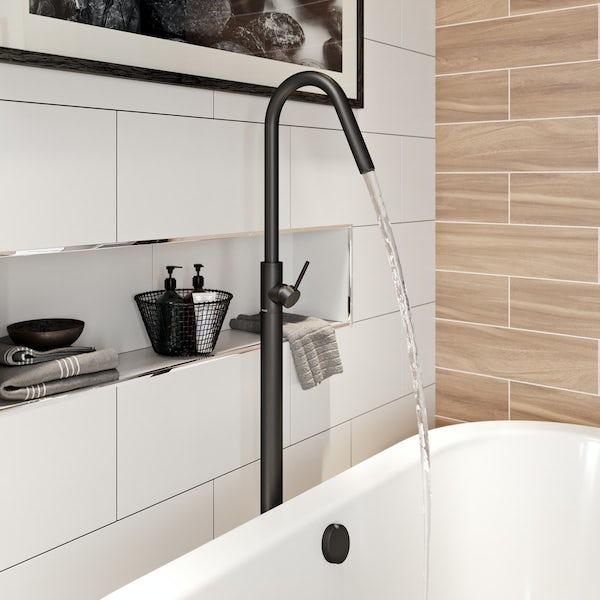 Mode Spencer round black freestanding bath filler tap