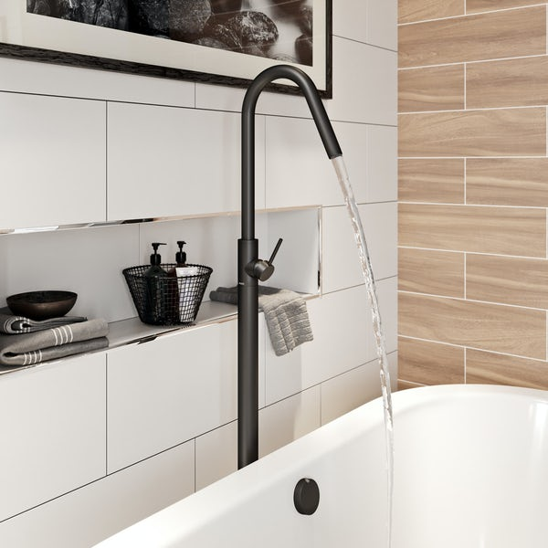 Mode Spencer round black freestanding bath filler tap