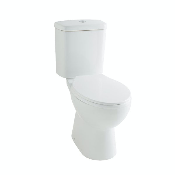 Clarity rimless close coupled toilet with seat