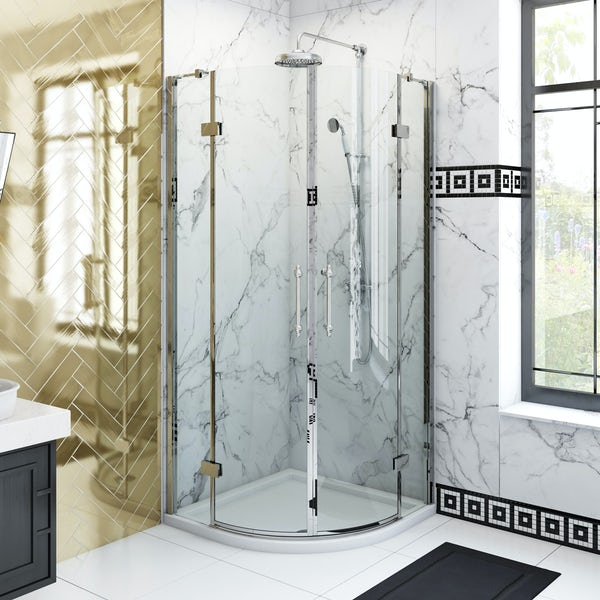 The Bath Co. Beaumont traditional 8mm hinged quadrant shower door
