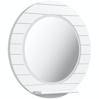 Accents Beachcomber white circle mirror