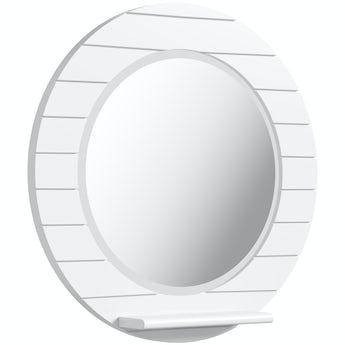 Accents Beachcomber white circle mirror