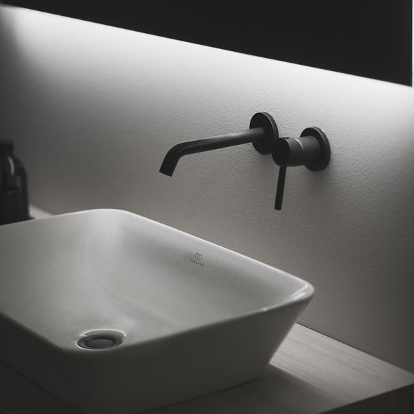 Ideal Standard Ceraline silk black wall mounted basin mixer tap
