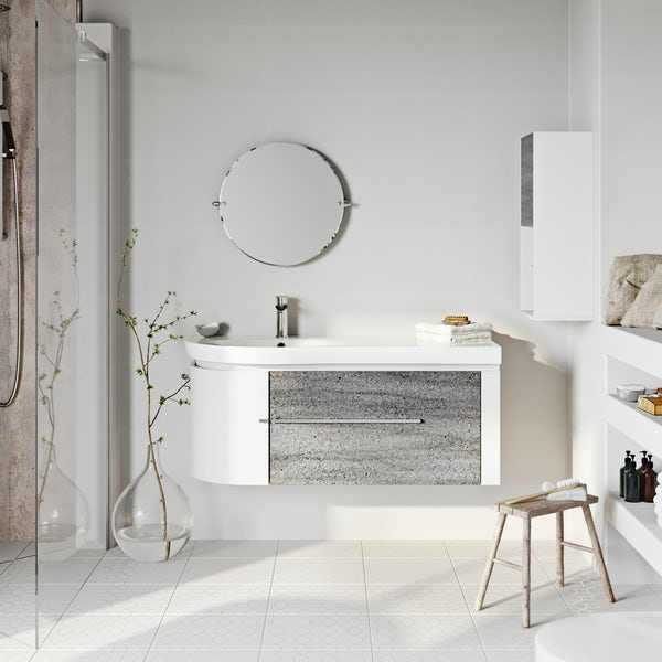 Mode Burton ice stone wall hung vanity unit and basin 1200mm